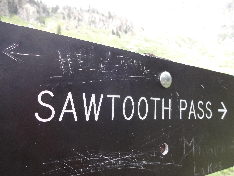 Sawtooth Pass sign
