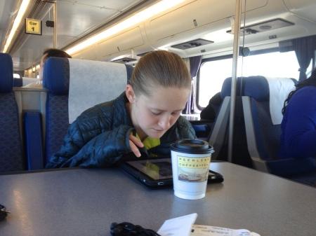 Jenna on train