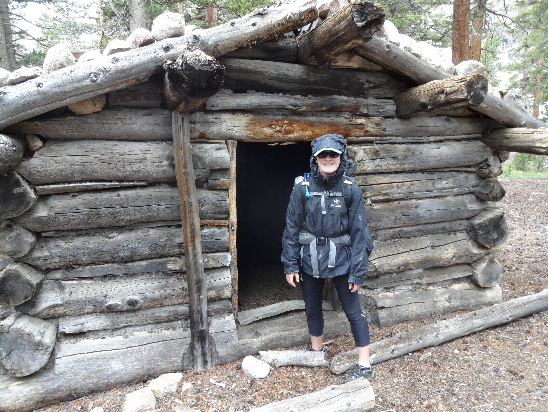 Jenna at cabin on John Dean cutoff