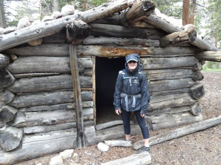 Jenna at cabin on John Dean cutoff